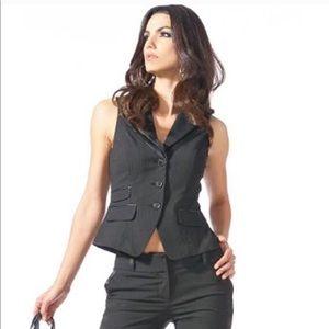 Bebe Black Pinstripe Suit Jacket Blazer PANTS set